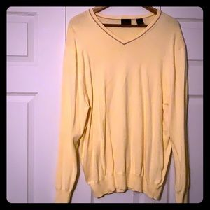 Yellow V-Neck Sweater by Jos A Bank